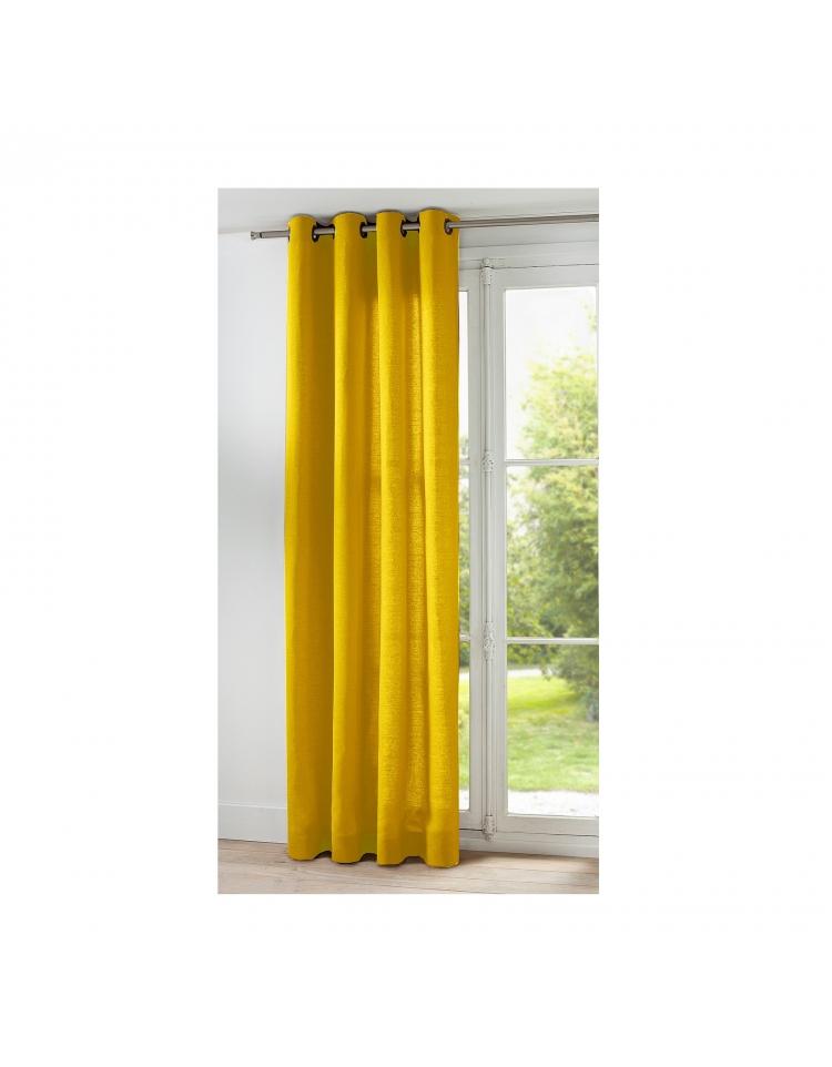 rideau de couleur jaune moutarde